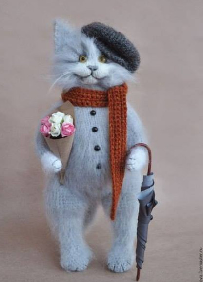 Удивительные вязаные коты от Ольги Бессогоновой!