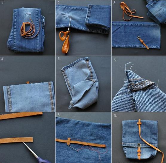 Делаем из старых джинс новые вещи! Коврик, юбка, сумка, шорты...
