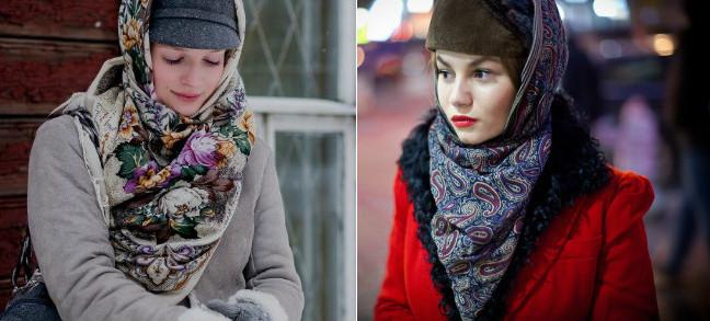 Как красиво повязать платок зимой: 10 модных образов. Тренд на века!