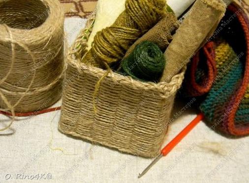 Плетёная корзина из шпагата