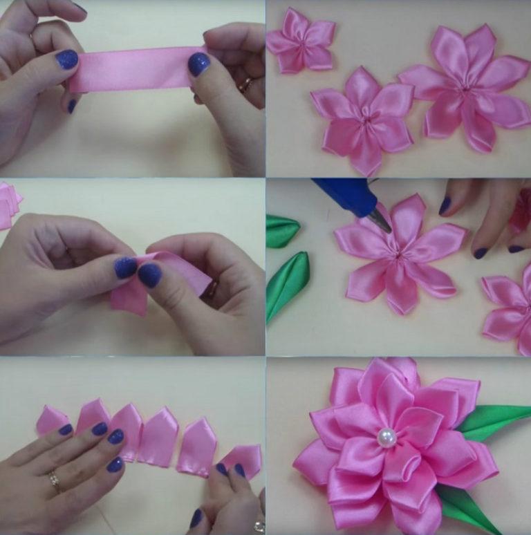 Как сделать цветочек из атласных лент