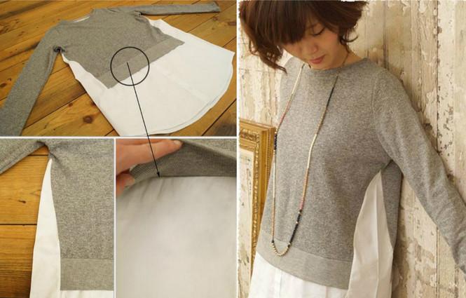 Свитера, футболки, рубашки - режем, комбинируем, шьем! Переделка свитера: пара надрезов на старом свитере — неповторимый наряд готов!