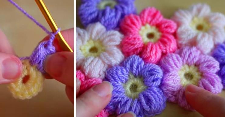 Посмотри, как связать крючком простой и красивый цветочный узор! Очаровательно...