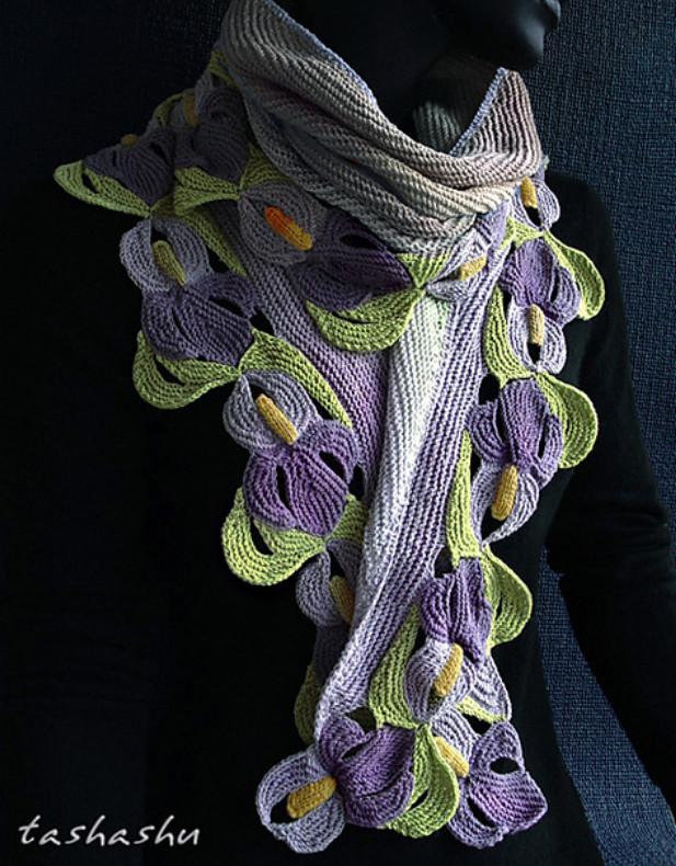 Изумительные шарфы Светланы Гордон, связанные спицами... Впечатляющие работы!
