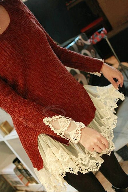 Кружево - это женственно... Как сразу преображается обычная одежда!