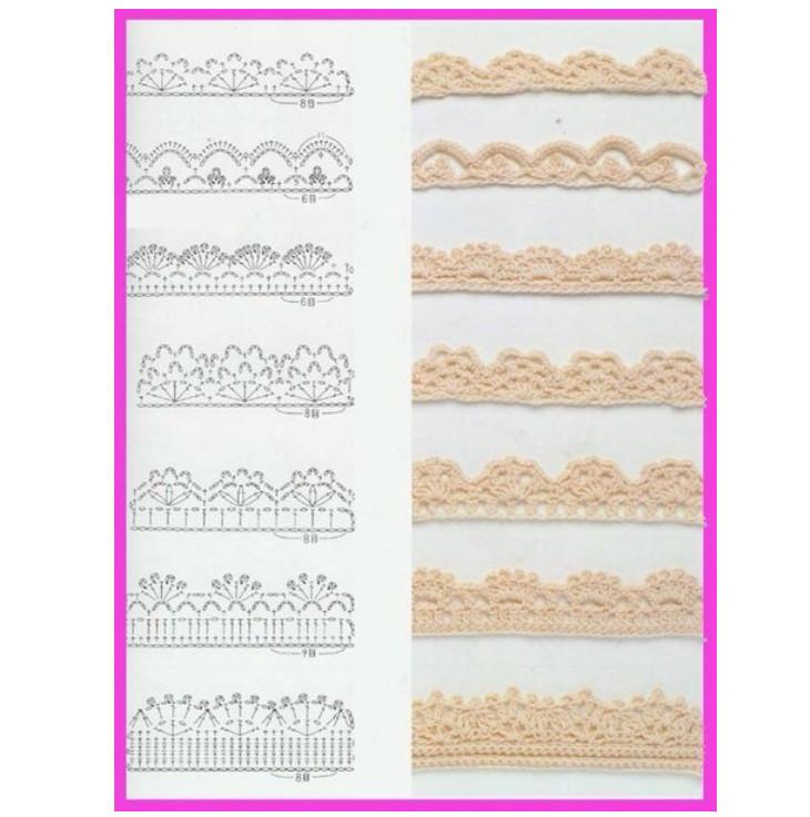 Схемы для обвязывания края крючком: придаем изделию законченный вид... Для красивого оформления изделия!