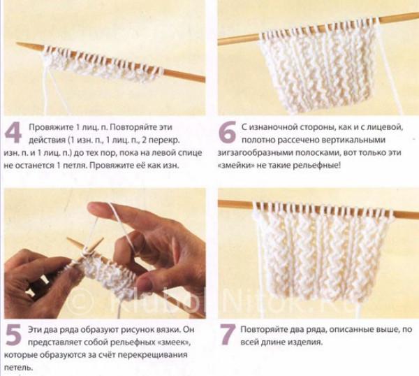 Описание вязания резинки 2 на 2