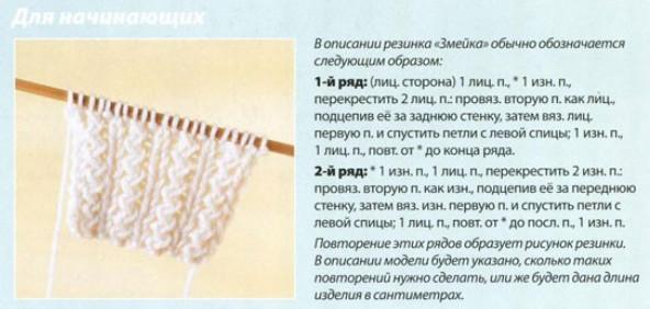 Узоры вязания: резинка односторонняя «Змейка»... Подходит для вязания головных уборов, пуловеров, юбок!