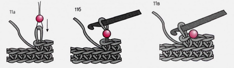 Простой способ вязания с бусинами без нанизывания... Вязаные изделия можно украсить несколькими бусинами без предварительного нанизывания бусин на нить!