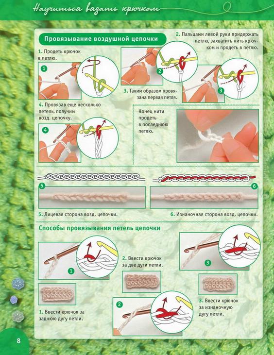 Пошаговый самоучитель для вязания крючком более 300 иллюстраций схемы. Идеи, советы, и мастер класс своим руками