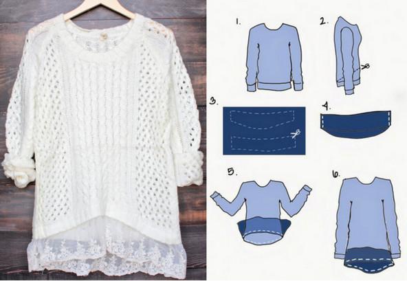 Суперидея для барышень с фантазией: пара надрезов на старом свитере — неповторимый наряд готов! Не раз видела такое в магазине!