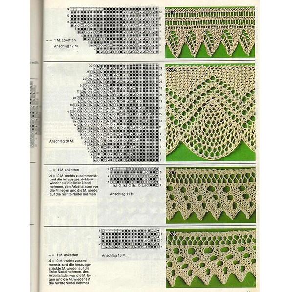 Красивая ажурная кайма, связанная спицами: схемы