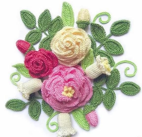 Цветочная композиция связана крючком! Схема вязания цветов крючком...