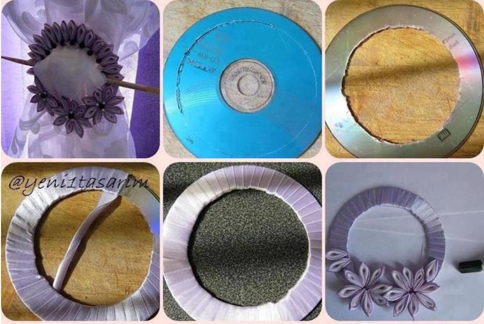 Оригинальный подхват для штор из CD диска: небольшой мастер-класс...