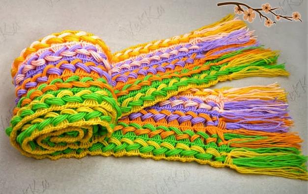 Шикарный шарф, связанный на линейке. Брумстик! Не думала, что это ТАК ПРОСТО!