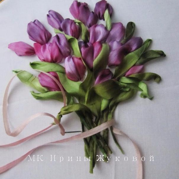 Вышивка лентами тюльпаны пошагово