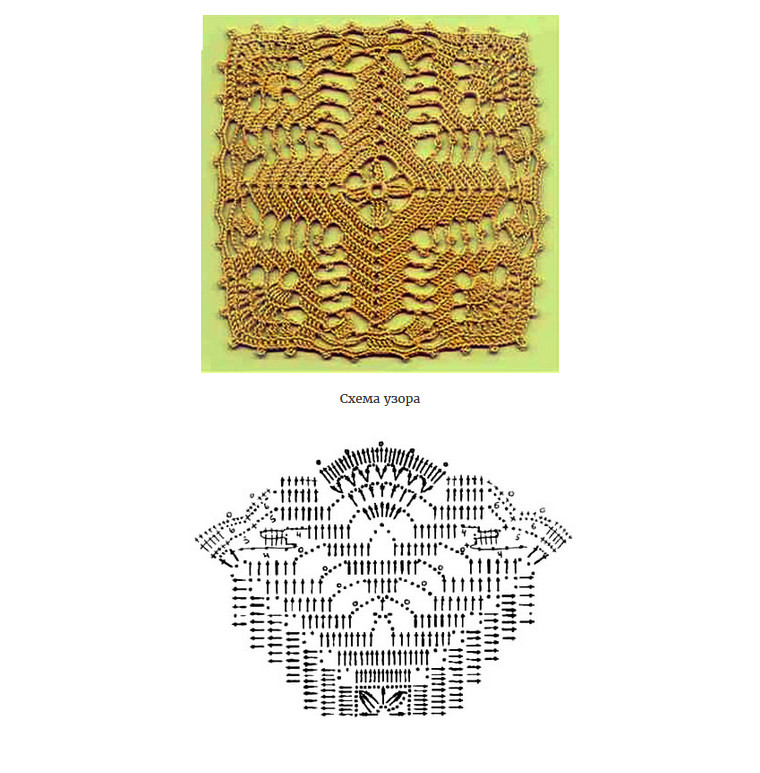 Квадратные мотивы крючком + схемы! (Часть 2)