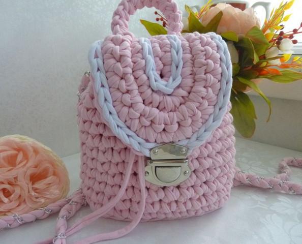 Вязаный рюкзак женский своими руками