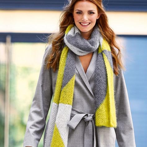Длинный шарф спицами из пряжи трех цветов! Модный цветной шарф для прохладной погоды...