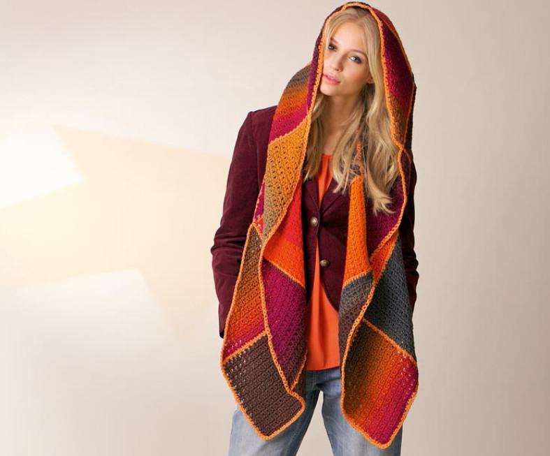 Капюшон с широким шарфом в стиле пэчворк!