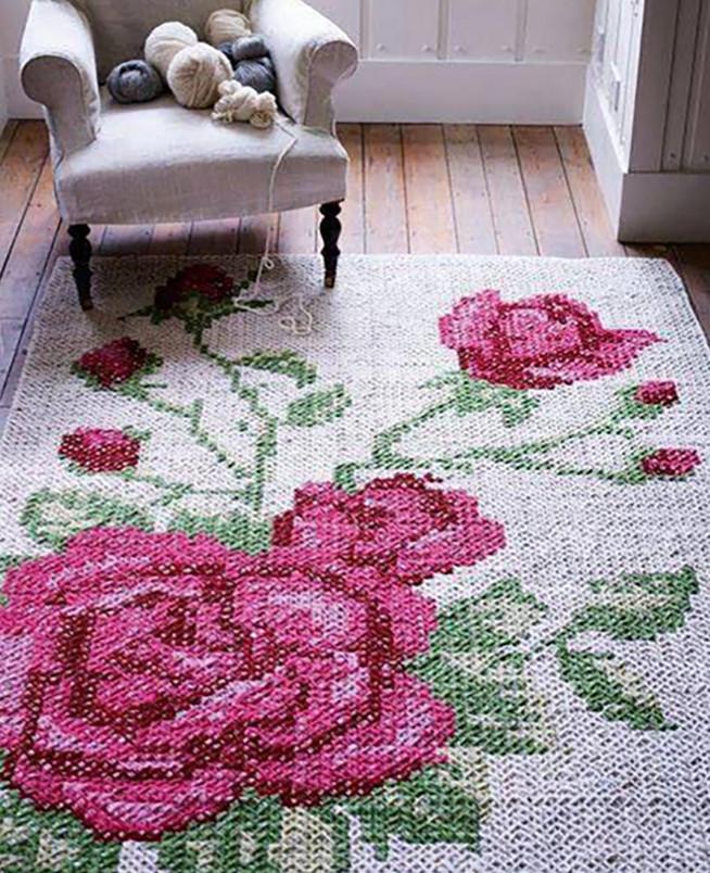 Вышивка крючком ковров 16