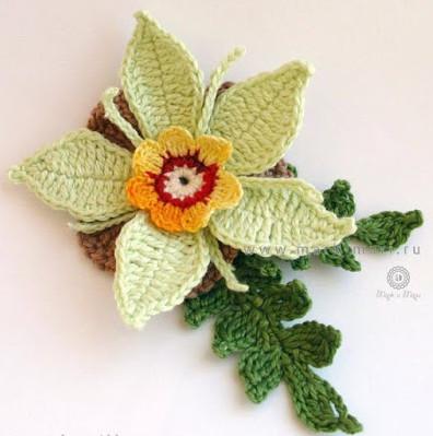 Цветы вязанные крючком со схемами и описанием...