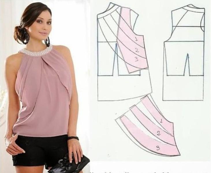 Большая подборка модных легких блузок с выкройками, которые можно сшить за пару часов! (Часть 1)