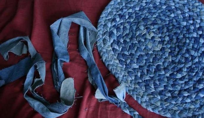 Как сплести коврик из джинсов своими руками