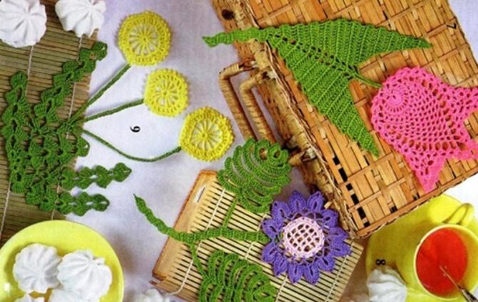 Вязание крючком аппликация цветы 18
