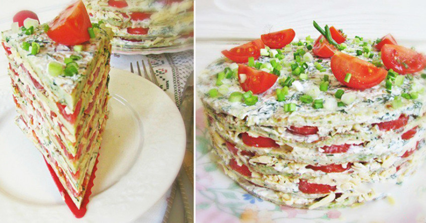 Купила на рынке кабачки, помидоры и сыр… Такого вкусного закусочного торта я еще не ела!
