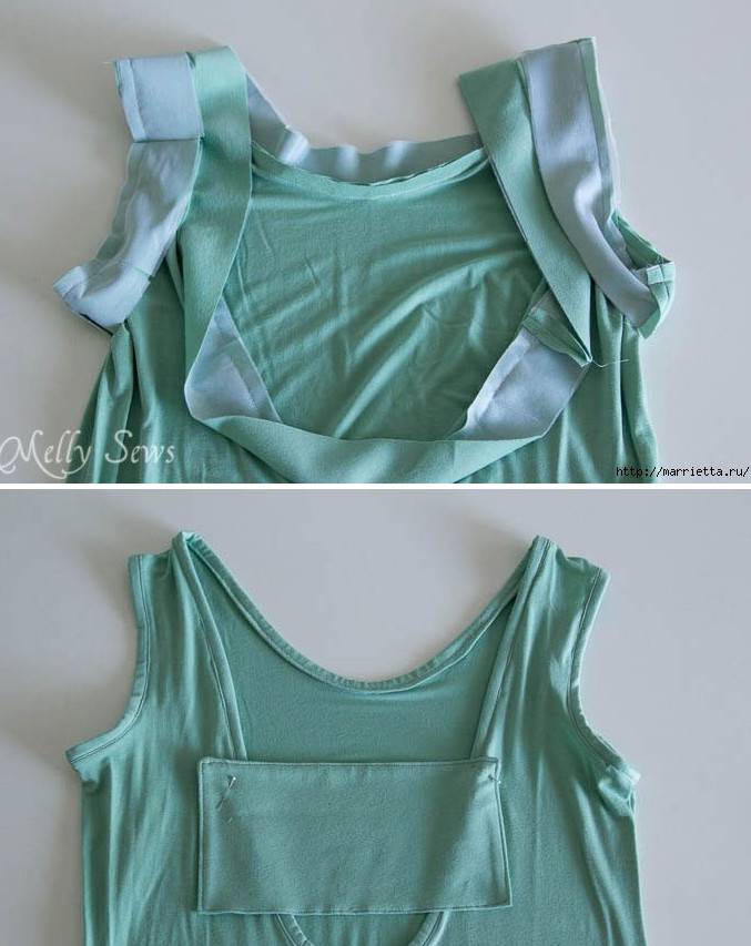 Превращаем старое платье в модный сарафан... Достаточно вырезать спинку и пришить бант!