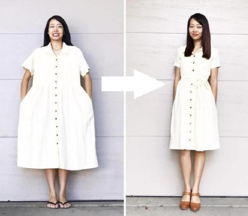 Она взяла дешевое мешковатое платье и проделала несколько манипуляций… Результату позавидовал бы даже именитый кутюрье!