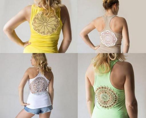 Как сделать уникальную кружевную футболку (майку)... Очень интересные летние идеи!