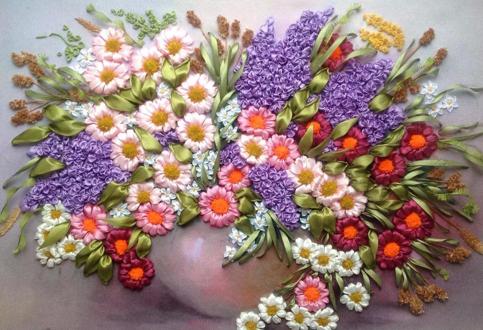 Вышивка лентами картинки цветы 44