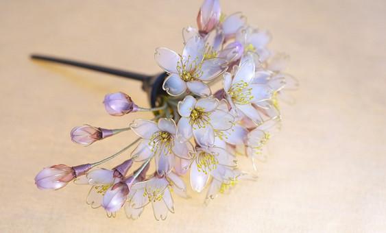 Женственные украшения канзаши от японской мастерицы Сакаэ (Sakae). Такого исполнения украшений еще не видел никто!