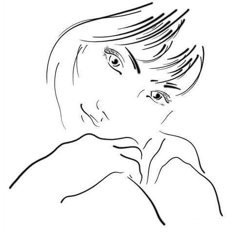 Белый лист и минимум штрихов, но портрет, как будто бы живой! Утончённый женский образ...