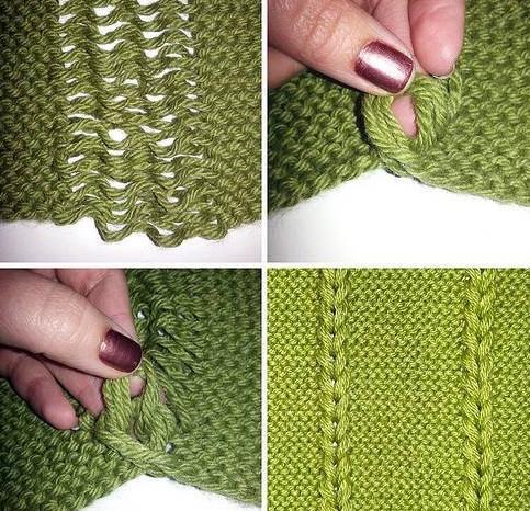 Интересная и необычная идея декора вязаного полотна. Шикарная и простая идея!