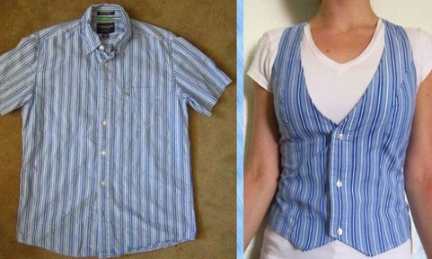 Вновь нещадно режем мужские рубашки и делаем из них шедевры! Вам она нужней, чем ему!