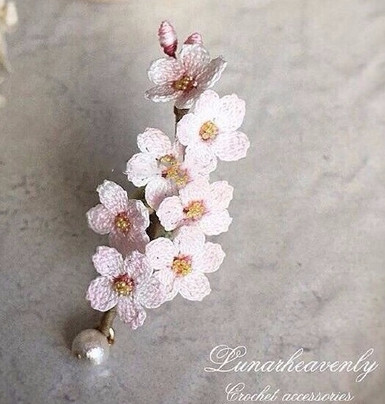 Веточка цветущего абрикоса. Вязаные украшения handmade...