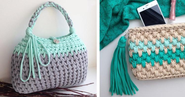 Вяжем стильную летнюю сумочку из трикотажной пряжи...