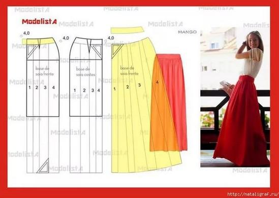 Женственная юбка в пол: идеи и выкройки...