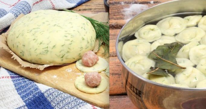 Необычный рецепт привычного блюда... Домашние пельмени из теста с зеленью!