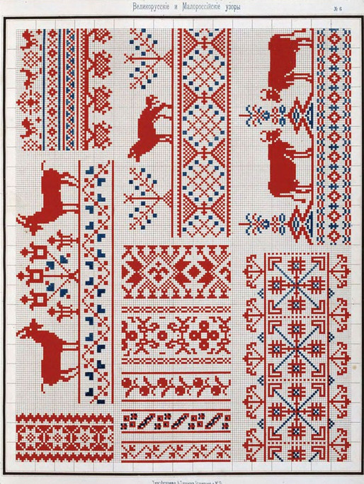 Традиционные орнаменты из старинного сборника узоров для вышивания крестом