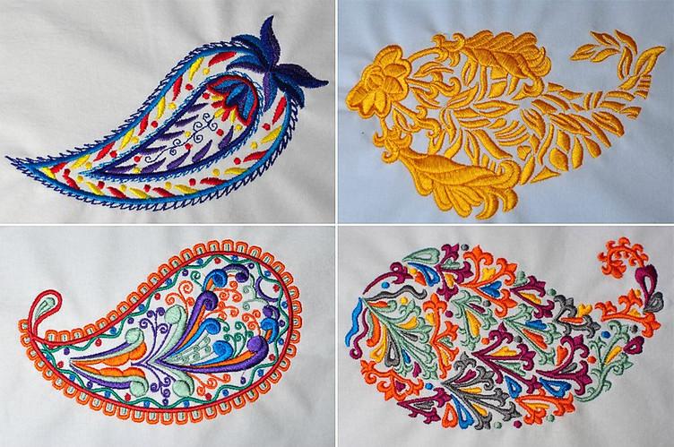 Машинная вышивка пейсли... Интересные варианты для вышивки!