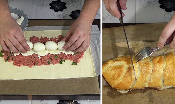 Он просто выложил 4 яйца прямо на фарш и завернул пирог. Гости ожидали увидеть банальное мясо в тесте...