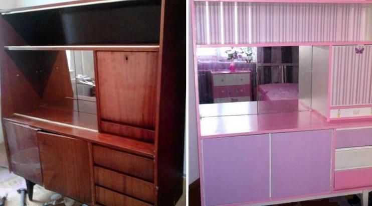 Советская мебель до и после переделки. Поверить не могу, что это старая стенка!