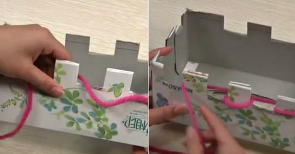 Как связать тёплый и красивый снуд-шарф всего за два часа с помощью картонной коробки без спиц и умения вязать!