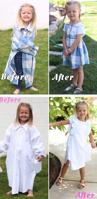 Талантливая мама перешивает старые рубашки мужа в удивительные наряды для своих дочек...
