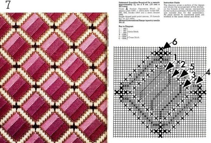 Барджелло — вышивка на сетке. Немного примеров со схемами...