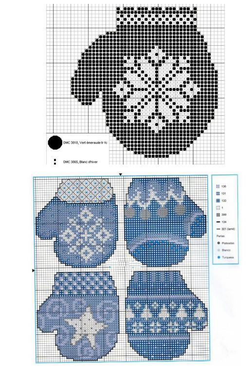 Зимние узоры и техника вышивания на варежках...
